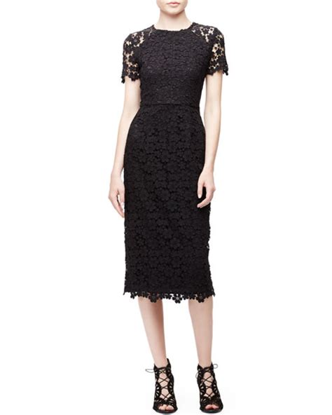 shoshanna sleeve lace midi sheath dress neiman