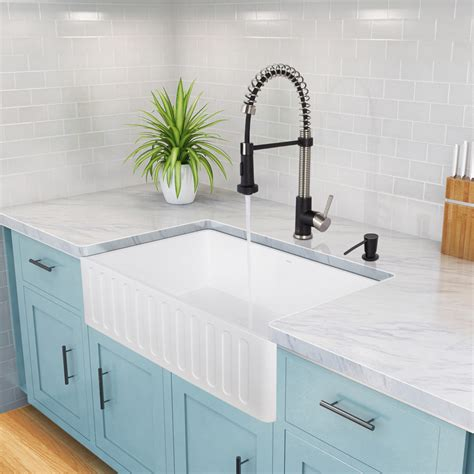 Kitchen Sink Ratings Vigo 30 Inch Farmhouse Apron Single Bowl Matte Kitchen Sink Reviews Wayfair