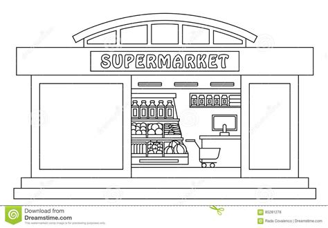 printable coloring pages grocery store supermarket outline illustration stock illustration