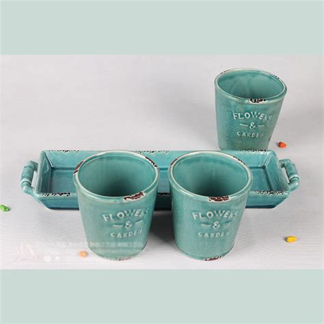 Indoor Planters With Saucers by 4 Pieces Planter Ceramic Pocerlain Bonsai Container Pot W