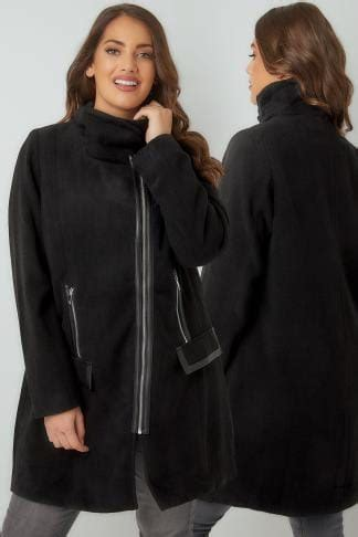 black coat with faux fur collar & tie waist, plus size 16