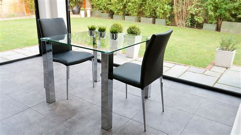 Small Glass Dining Table Set Stylish Small Dining Set Chrome And Clear Glass Modern Chairs