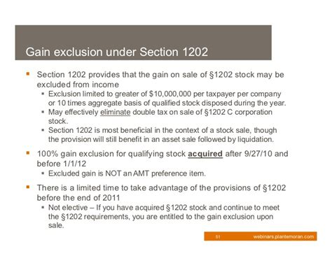 section 1202 exclusion 2011 tax update