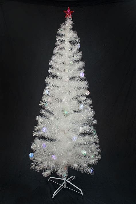 white fibre optic christmas tree x tree green ornaments