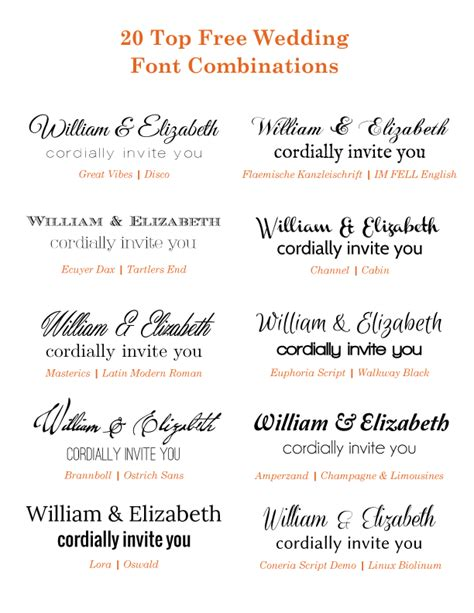 Wedding Font Combos by 20 Popular Free Wedding Font Combinations Bonfx