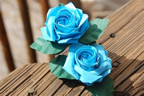 Complex Origami Flower - origami sato blue with stem and leaves by lisadeng on