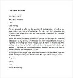 Offer Letter Exle Sle Offer Letter Templates 11 Free Exles Format