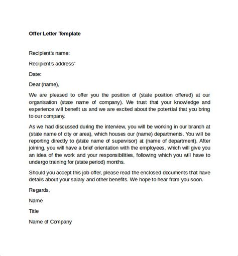 sle offer letter templates 11 free exles format