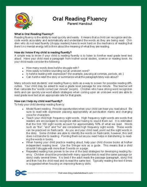 Parent Letter About Reading Parent Handout On Reading Fluency Forms And Printables For Classroom Parent