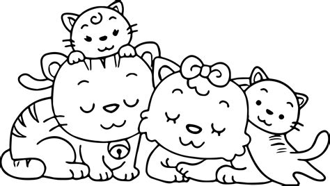 family coloring pages animal cat family coloring page wecoloringpage