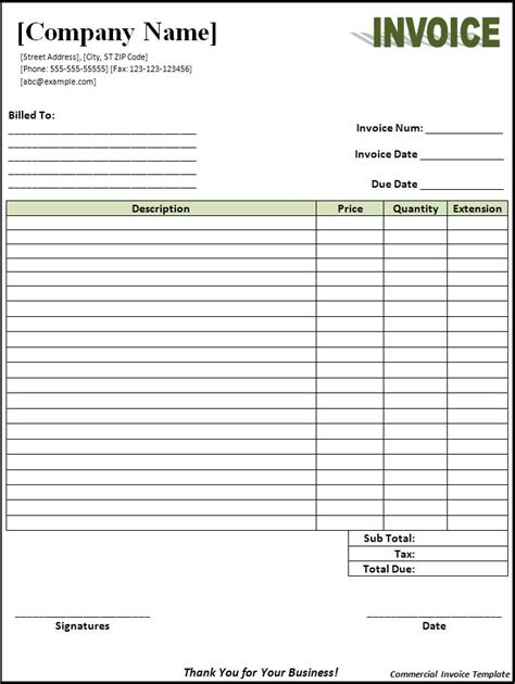 invoice templates for free commercial invoice template free printable word templates