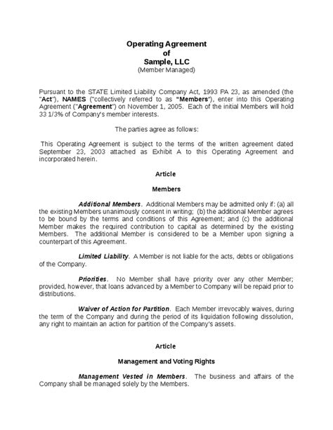 company operating agreement template limited liability company operating agreement sle
