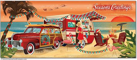 vintage beach camper christmas cards