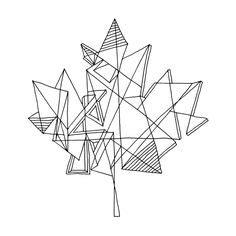 tattoo leaf geometric geometric print red on white geometric maple leaf by