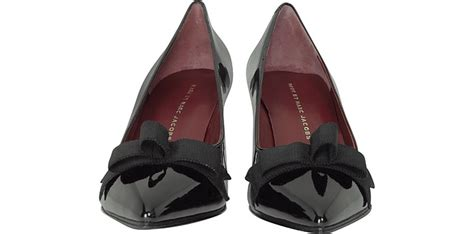 Forzieri Black Bow Taupe Satin And Leather Pumps by Marc By Marc Andromeda Black Patent Leather Bow
