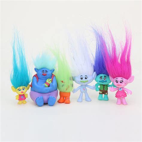 Figure 1 Set 6 Pcs aliexpress buy 6pcs set trolls figure play set magic hair dolls