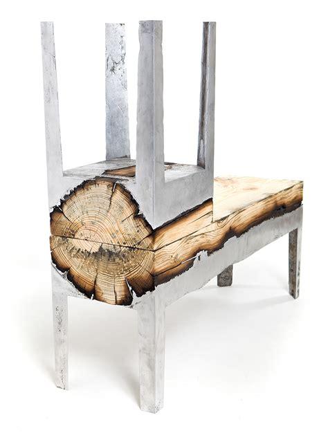 designer hilla shamia  cast aluminum  tree trunks  create unique furniture pieces