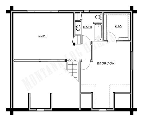 upper level floor plan of garage plan 7124 eat in kitchen mlh 057 a montana log homes