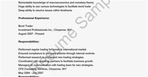 Bond Trader Sle Resume by Resume Sles Bond Trader Resume Sle
