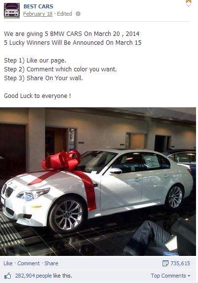 Fake Giveaways On Facebook - fake bmw giveaways on facebook wafflesatnoon com