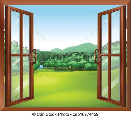Clipart vector of a window with a good view of the beautiful gift of nature csp18774459