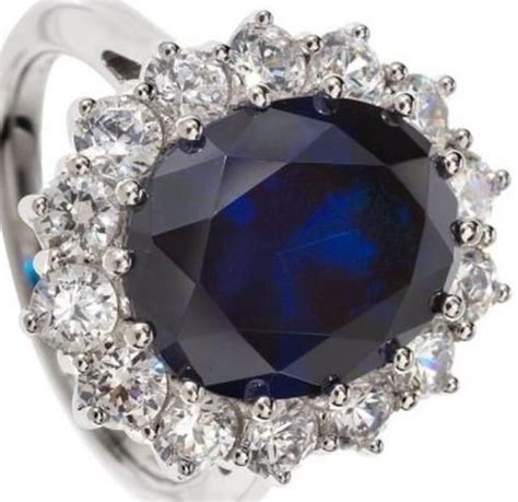 princess diana lab created sapphire ring size 8 18k white