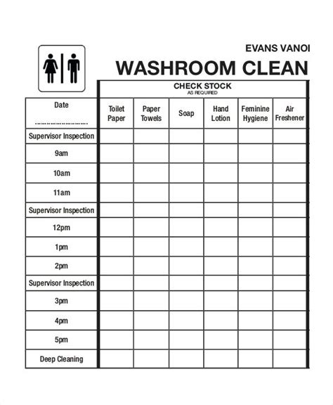 Bathroom Cleaning Checklist Form Toilet Schedule Template Free Restroom Tailoredswift Co Bathroom Check Log Template