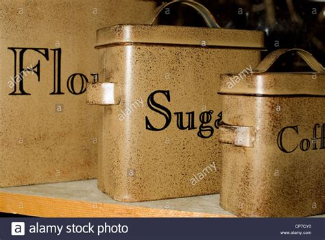 Vintage Metal Kitchen Canisters by A Set Of Antique Tin Kitchen Canisters For Flour Sugar