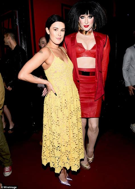 Detox Drag Pecs by Rumer Willis Flashes Cleavage In Plunging Yellow Dress At