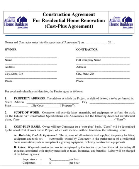 construction agreement templates word  pages  premium templates