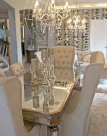 Chandelier For Dining Table Mirrored Dining Table And Orb Chandelier House And Home The Chandelier I Am And