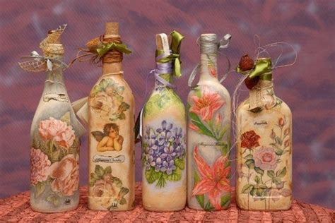 decoupage on glass bottles decoupage bottles paint on glass i