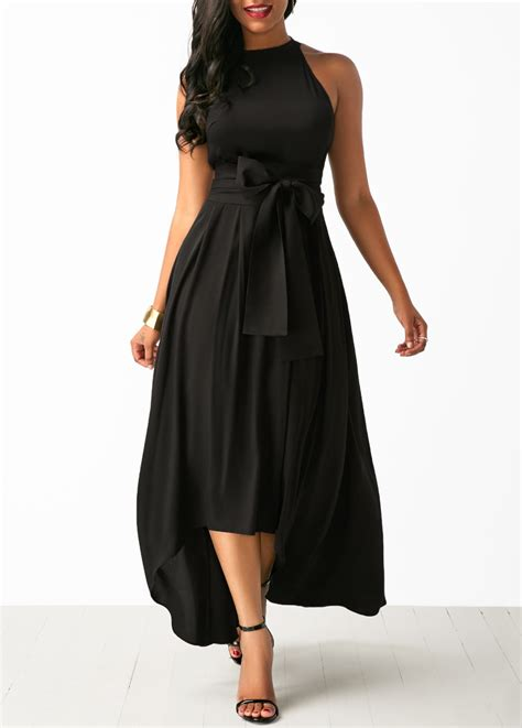 Maxi Dress Cardigan asymmetric hem belted black maxi dress and cardigan