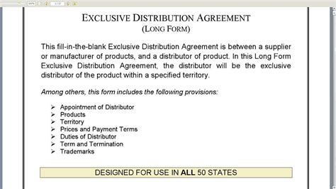 Letter Of Distribution Agreement Exclusive Distribution Agreement Form