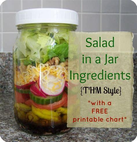 Printable Salad In Jar Recipes | salad in a jar ingredients thm style free printable