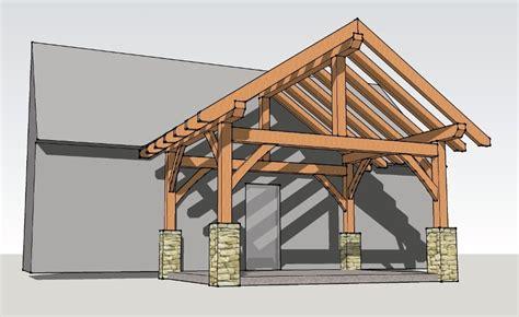 Timber Frame Home Shed Porch | 12x16 timber frame porch