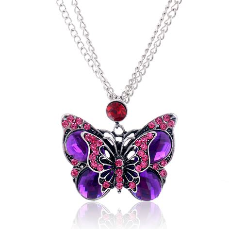 sale retro vintage style amethyst butterfly pendant