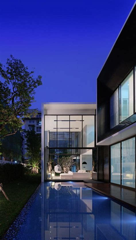 modern day architecture l shaped modern day family members house in bangkok
