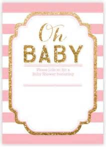 Pink Baby Shower Invitation Templates pink and gold glitter baby shower invitation invitations