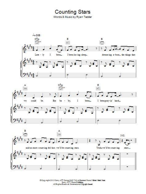 printable lyrics counting stars counting stars sheet music direct