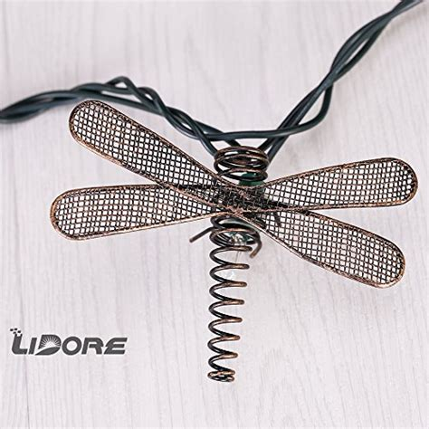 Lidore Set Of 10 Metal Dragonfly Patio String Light Ideal Dragonfly String Lights