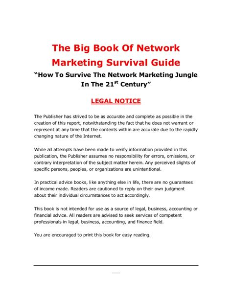 book report network the big book of network marketing survival guide 2
