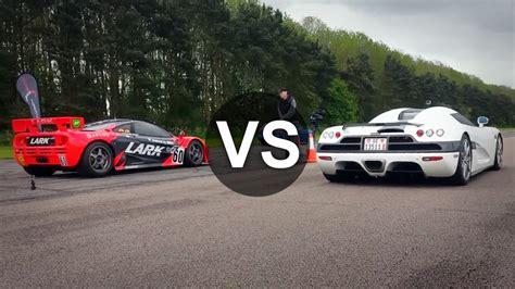 koenigsegg mclaren koenigsegg ccx vs mclaren f1 gtr drag race draginfo