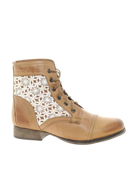 crochet ankle boots steve madden thundrc crochet lace up ankle boots in brown