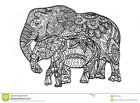 cats coloring book grayscale stress relief calming and relaxing coloring book portable books relaxing coloring elephants stock illustration
