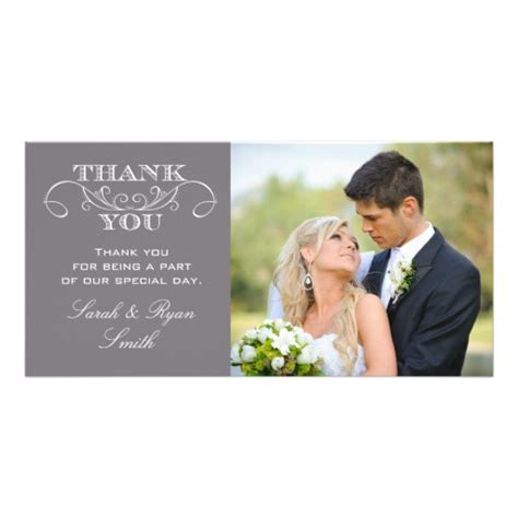template for wedding thank you cards modern grey wedding photo thank you cards photo card