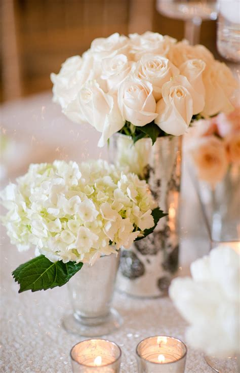 white roses for formal wedding reception