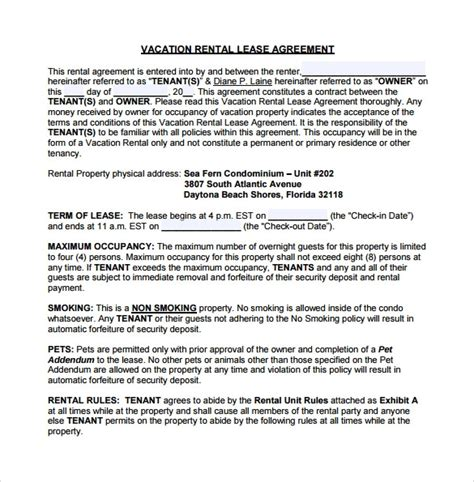 Vacation Rental Agreement 10 Sles Exles Format Condo Rental Lease Template