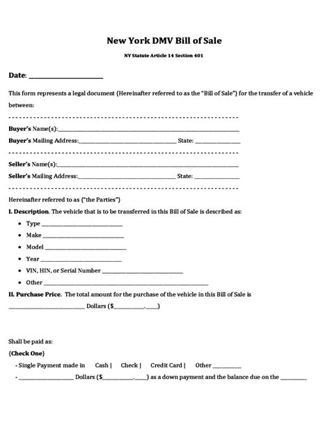 bill of sale dmv form new bill of sale form from dmv ny