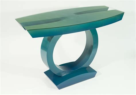 Teal Console Table Teal To Green Table By Wilbar Wood Console Table Artful Home